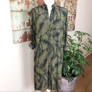 Ann Taylor tropical green leaf tunic dress